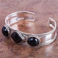 Obsidian cuff bracelet, 'Figures in Black' - Hand Crafted Obsidian and Sterling Silver Cuff Bracelet