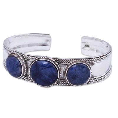 Sodalite cuff bracelet, 'Sodalite Twist' - Hand Crafted Sodalite and Sterling Silver Cuff Bracelet