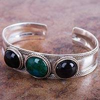 Obsidian and chrysocolla cuff bracelet, 'Natural Radiance'
