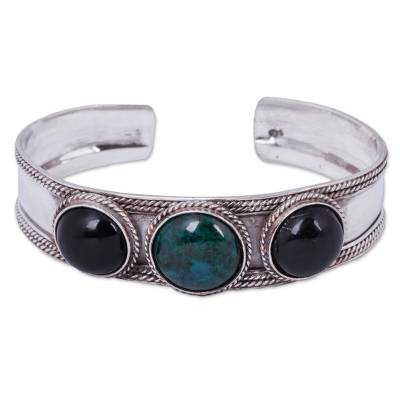 Obsidian and chrysocolla cuff bracelet, 'Natural Radiance' - Artisan Crafted Obsidian and Chrysocolla Cuff Bracelet