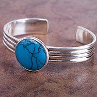 Reconstituted turquoise cuff bracelet,