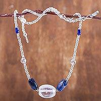 Sodalite and quartz beaded necklace, 'Andean Skies' - Handmade Sodalite and Quartz Beaded Necklace from Peru