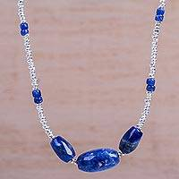 Sodalite beaded pendant necklace, 'Starry Night' - Artisan Crafted Sterling Silver and Sodalite Beaded Necklace