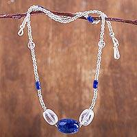 Sodalite and quartz beaded necklace, 'Sparkling Stream' - Handmade Sodalite and Clear Quartz Beaded Necklace from Peru