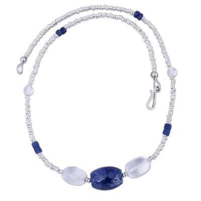 Handmade Sodalite and Clear Quartz Beaded Necklace from Peru