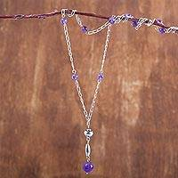 Amethyst long beaded pendant necklace, 'Purple Grace' - 34-inch Chain Amethyst and Sterling Silver Beaded Necklace