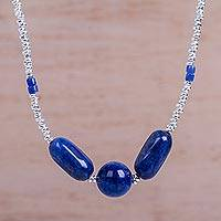 Sodalite beaded pendant necklace, 'Cloudy Night' - Hand Crafted Sterling Silver and Sodalite Beaded Necklace