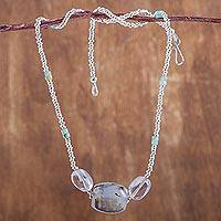 Opal and quartz beaded necklace, 'Lustrous Beauty' - Hand Crafted Opal and Quartz Beaded Necklace from Peru