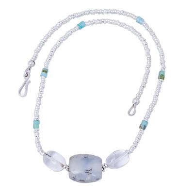 Opal and quartz beaded necklace, 'Lustrous Beauty' - Hand Crafted Opal and Quartz Beaded Necklace from Peru