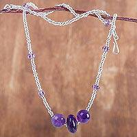 Amethyst beaded necklace, 'Purple Skies'