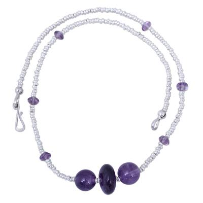 Amethyst beaded necklace, 'Purple Skies' - Artisan Crafted Amethyst and Sterling Silver Beaded Necklace