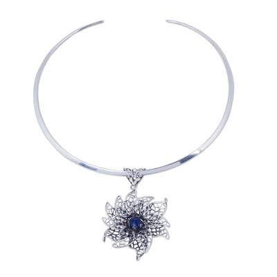 Sodalite Floral Choker in Andean Sterling Silver