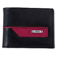 Men's sheep leather wallet, 'Red and Black' - Men's Hand Crafted Sheep Leather Wallet in Red and Black