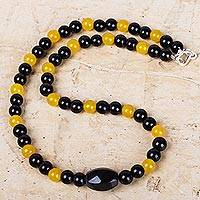 Agate and obsidian beaded necklace, 'Eclipse of the Sun' - Black and Yellow Agate Beaded Necklace with Obsidian