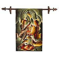 Alpaca blend tapestry, 'Nacimiento del Niño Jesús' - Artisan Crafted Alpaca Blend Tapestry of Nativity Scene