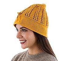 100% alpaca hat, 'Goldenrod' - Hand Knit Deep Yellow 100% Alpaca Knit Hat from Peru