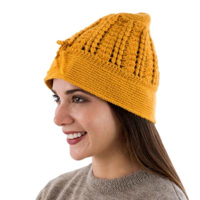 Hand Knit Deep Yellow 100% Alpaca Knit Hat from Peru