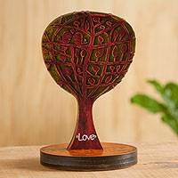 Wood sculpture, 'Tree in Love' - Love Birds on a Tree Wood Sculpture By Peruvian Artist