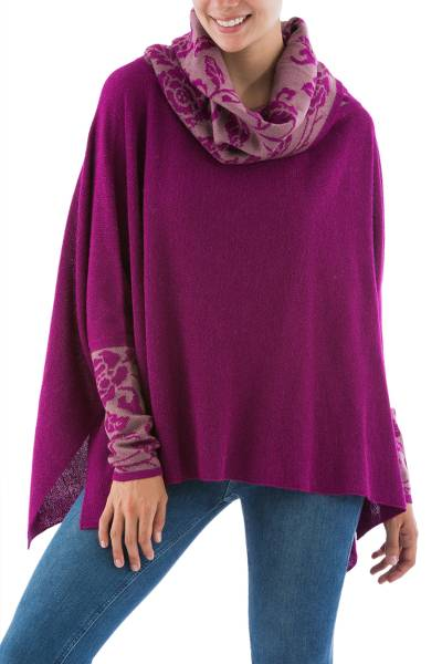 100% alpaca poncho with sleeves, 'Fuchsia Roses' - Peruvian Baby Alpaca Poncho in Fuchsia with Rose Motifs