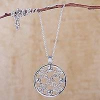 Sterling silver pendant necklace, 'Flowers of Rimac' - Handcrafted Sterling Silver Floral Pendant Necklace