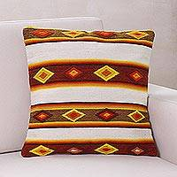 Wool cushion cover, 'Cocoa Diamonds' - 100% Wool Artisan Crafted Cushion Cover with Geometric Motif