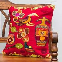 Wool cushion cover, 'Garden Revelry' - Hand Woven Red Wool Cushion Cover with Birds and Flowers