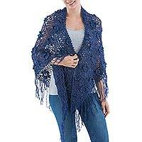 100% alpaca shawl, 'Blue Garden' - Hand Crafted Alpaca Crochet Shawl in Blue with Fringe