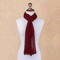100% alpaca scarf, 'Ruby Red' - Artisan Crafted Solid Red 100% Alpaca Scarf from Peru
