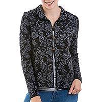 Alpaca blend cardigan, 'Florencia' - Artisan Crafted Alpaca Blend Cardigan with Floral Motif