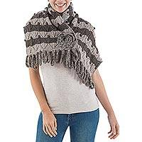 100% alpaca scarf, 'Floral Beauty' - Hand Knit 100% Alpaca Scarf with Floral Motif in Grey