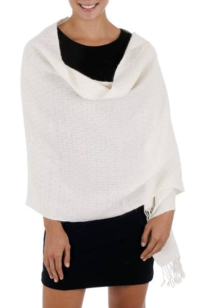 100% alpaca shawl, 'Graceful Ivory' - Artisan Crafted Solid Ivory 100% Alpaca Shawl with Fringe