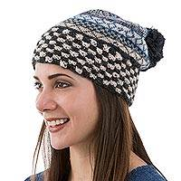 100% alpaca hat, 'Organic Geometry' - Blue and Beige Geometric Motif Unisex 100% Alpaca Hat