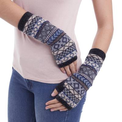 100% alpaca fingerless mitts, 'Geometric Color' - Hand Crafted 100% Alpaca colourful Fingerless Gloves
