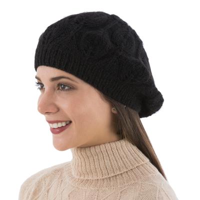 Hand Knit Black 100% Alpaca Beret from Peru