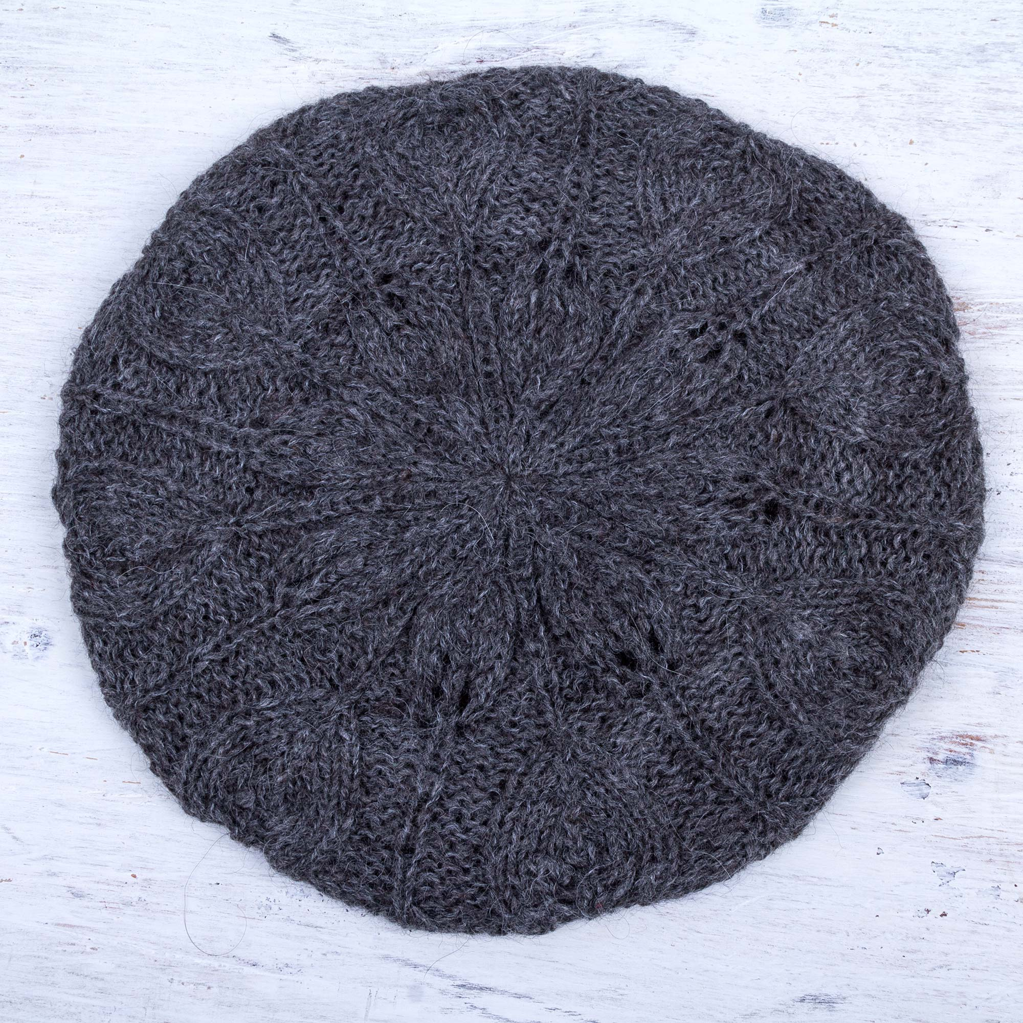 58c62225 Andean Alpaca Wool Hand Knitted Beret in Charcoal Grey,