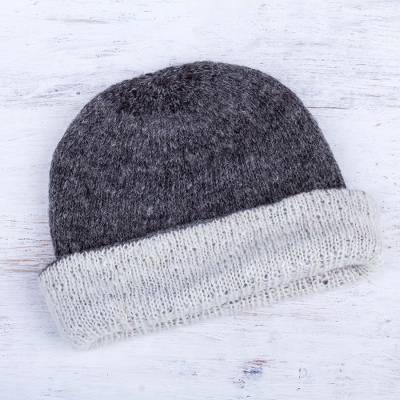 100% alpaca reversible hat, 'Snow at Dusk' - Hand Knitted Reversible Grey and Ivory Alpaca Hat