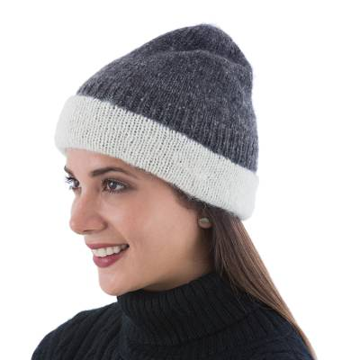 Hand Knitted Reversible Grey and Ivory Alpaca Hat