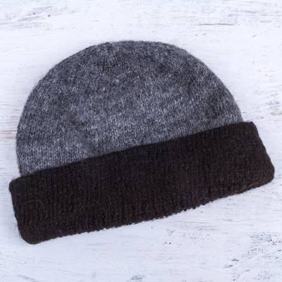100% alpaca reversible hat, 'Shadows at Dusk' - Reversible Grey and Black 100% Alpaca Hat Knitted by Hand