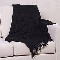 Alpaca blend throw, 'Cozy Nights' - Ultra Soft Baby Alpaca Blend Throw Solid Black Boucle Style