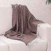 100% baby alpaca throw, 'Dark Brown Herringbone' - Ultra Soft Alpaca Throw with Dark Brown Herringbone Pattern
