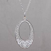Sterling silver pendant necklace, 'Colonial Filigree Lace' - Handcrafted Andean Filigree Necklace in Sterling Silver