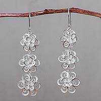 Sterling silver dangle earrings, 'Filigree Petals' - Handcrafted Floral Filigree Earrings in Sterling Silver
