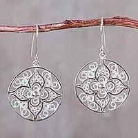 Sterling silver dangle earrings, 'Dawn Lily' - Floral Filigree Artisan Crafted Earrings in Sterling Silver