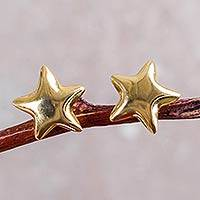 Gold plated button earrings, 'Shining Star' - Petite Sterling Silver Star Earrings Bathed in 18k Gold