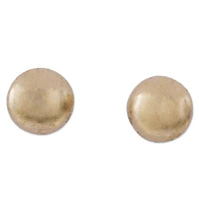 Gold plated button earrings, 'Golden Lentil' - Contemporary Silver Button Earrings Bathed in 18k Gold
