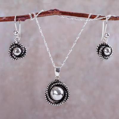 Sterling silver jewelry set, 'Hummingbird Nest' - Modern Necklace and Earrings Set Crafted of Andean Silver