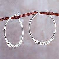 Sterling silver hoop earrings, 'In Motion' - Contemporary Handcrafted Sterling Silver Hoop Earrings