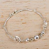 Silver link bracelet, 'Shining Orbs' - Andean Silver 950 Contemporary Link Bracelet