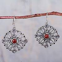Jasper dangle earrings, 'Crop Circles' - Ornate Circular 950 Silver Dangle Earrings with Jasper