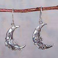 Silver dangle earrings, 'Waxing and Waning Moon' - Andean Artisan Crafted 950 Silver Crescent Moon Earrings